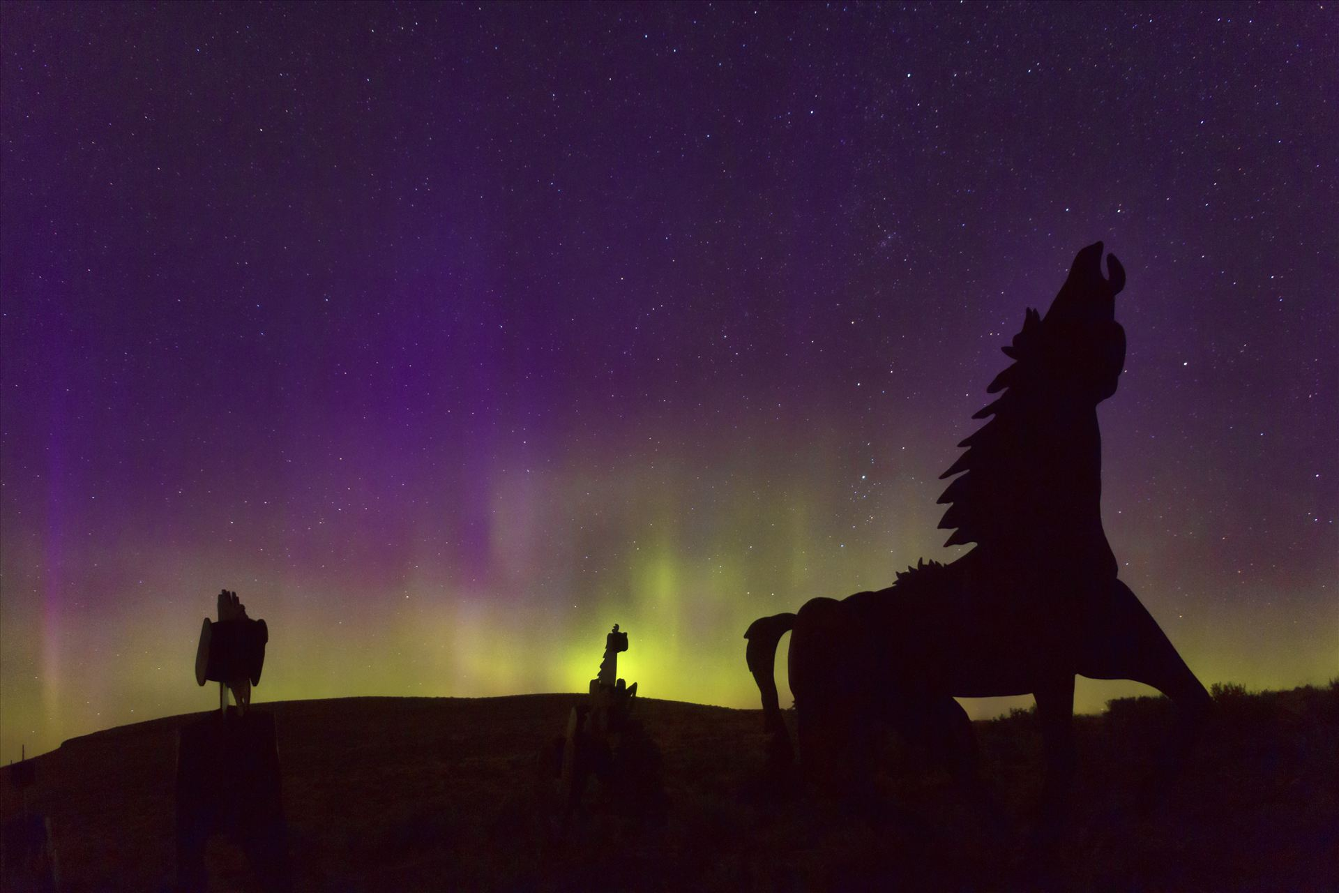 Horseplay in the Northern Lights - This was taken at the Wild Horse Monument at Vantage, Washington.  The Auroras put on quite a show that night. by Bear Conceptions Photography